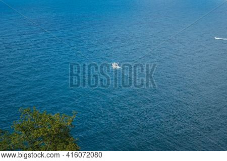 Yachts On The Atlantic Ocean, Deep Blue Water And Sky