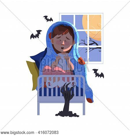Little Boy Afraid Of Night Monsters Sitting On Bed Covering With Blanket Vector Illustration