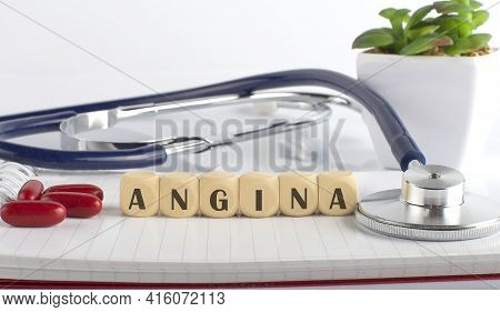 Angina Word With Building Blocks, Medical Concept Background.