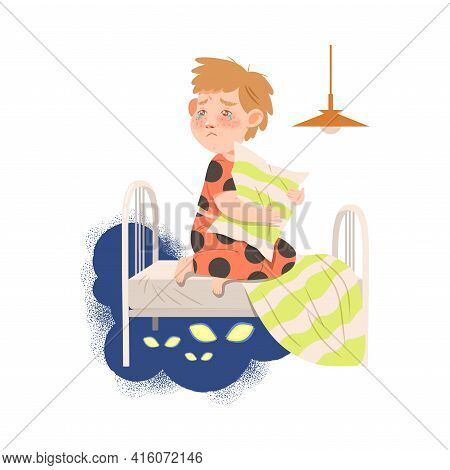 Little Boy Afraid Of Monsters Sitting On Bed With Pillow And Crying Vector Illustration