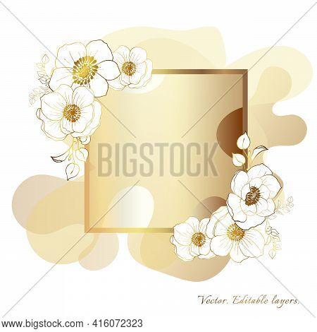 Gold Frame. Watercolor Wedding Invitation Card With Watercolor, White Flowers. Watercolor Stains. Pa