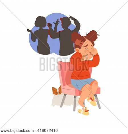 Little Girl Afraid Of Parents Scolding And Quarrelling Sitting On Chair And Crying Vector Illustrati