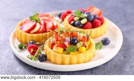 set of fresh fruit tart
