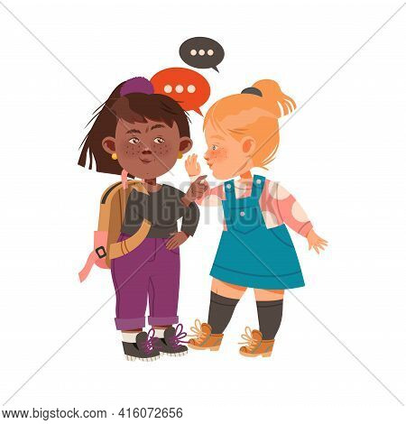 Little Freckled Girls Gossiping And Spreading Rumors About Her Agemates Vector Illustration