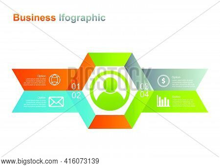 Business Infograpic Design Template. 4 Option Infographic Vector Illustration. Perfect For Marketing