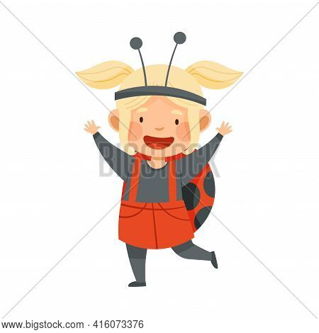 Cute Blond Girl Wearing Ladybug Spotted Costume Role Playing And Having Fun Vector Illustration