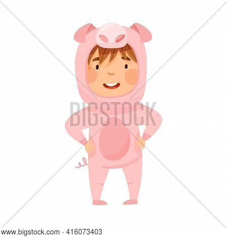 Cute Boy Wearing Pink Pig Costume Role Playing And Having Fun Vector Illustration