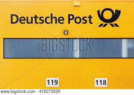 Kamen, Germany - July 22, 2018: German Post Warehouse Called Deutsche Post In German. Deutsche Post