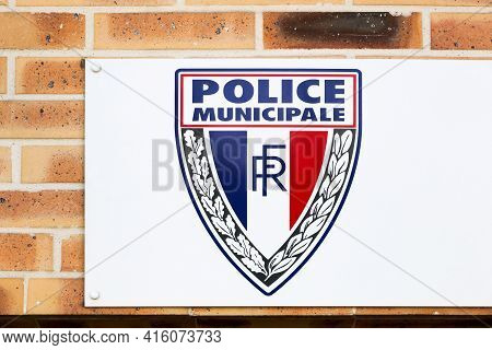 Sennecey, France - July 5, 2020: Municipal Police Building And Sign In France. The Municipal Police