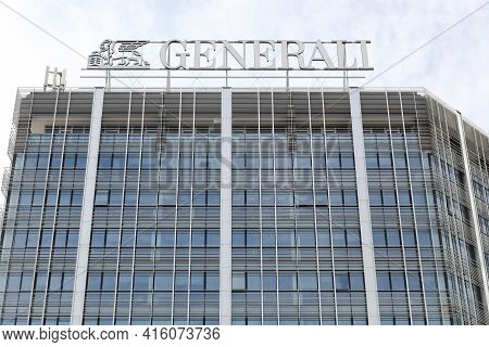 Milan, Italy - September 16, 2016: Generali Logo On A Building. Generali Is The Largest Insurance Co