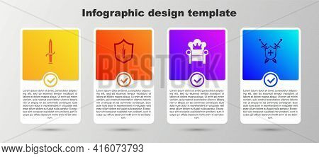 Set Dagger, Medieval Shield With Sword, Throne And Swords. Business Infographic Template. Vector