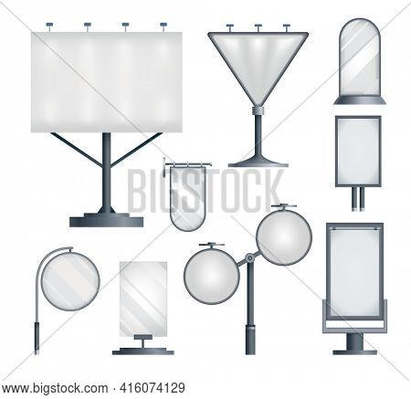 Set of blank billboards advertisings. Advertising constructions or outdoor billboards. Marketing  icons. Banners design template