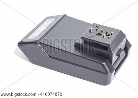 Black Photo Digital Camera Flash Isolated On White Background