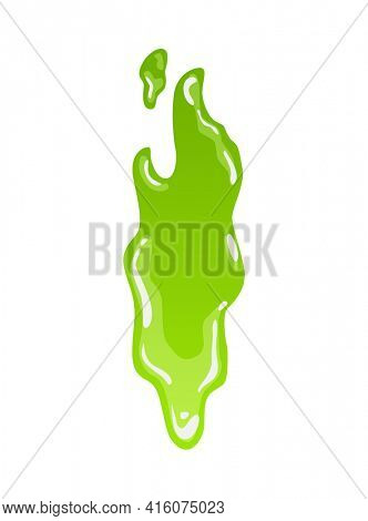 Green slime. Goo blob splashes, toxic dripping mucus. Slimy splodge and drops, liquid borders. Cartoon isolated  decorative forms of playing blotch. Snot