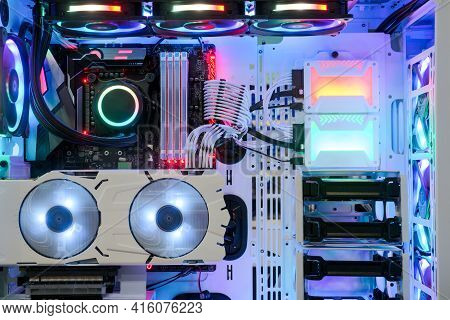 Close-up And Inside Desktop Pc Gaming And Cooling Fan Cpu System With Multicolored Led Rgb Light Sho