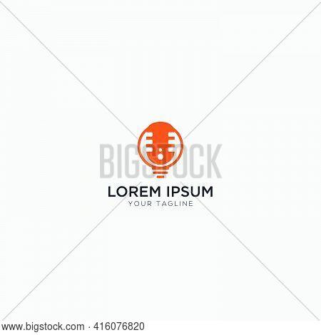 Smart Podcast Modern Logo Bulb Orange Mic