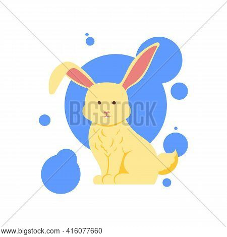 Funny White Cute Hare Character Sitting, Cartoon Vector Illustration Isolated On White Background. F