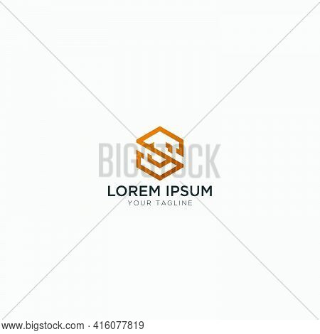 S V Letter Logo Hexagonal Monogram Simple
