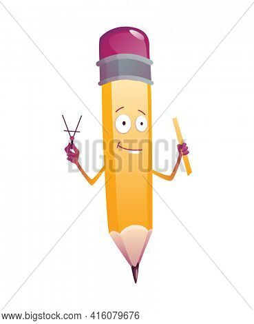 Pencil cartoon. Cute humanized pencil character with arms and face emoji illustration with school supplies