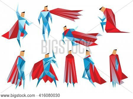 Superheros low poly.  polygonal illustration of super heros, origami style icon, modern cartoon man characters. Superheros in different poses on white background