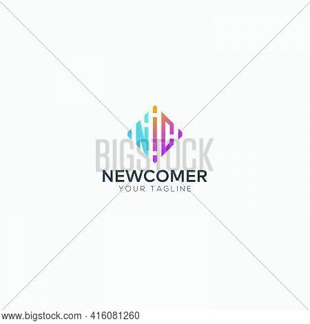Square Rainbow Nc Equalizer Wave Music Logo Modern