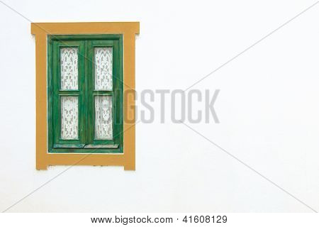 Traditional wooden window and white wall on the right in Portugal. Europe. poster