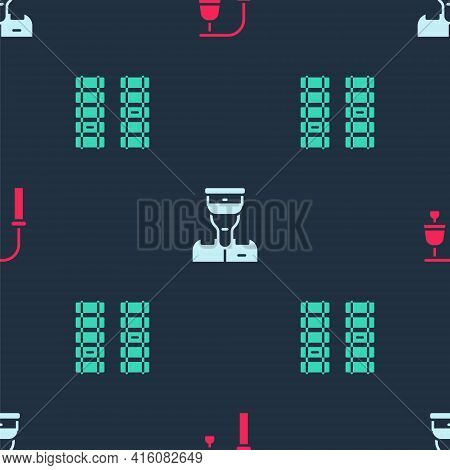 Set Train Station Bell, Conductor And Railway, Railroad Track On Seamless Pattern. Vector