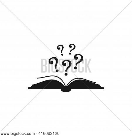 Open Black Book With Black Question Marks Flying Out. Isolated On White Background. Flat Vector Read