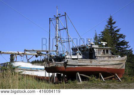 Strait Point, Alaska / Usa - August 13, 2019: An Old Fishing Boat At Strait Point, Strait Point, Ala