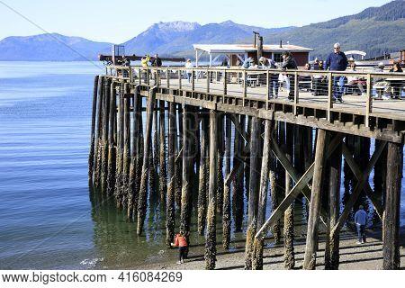Strait Point, Alaska / Usa - August 13, 2019: A Wooden Pier At Strait Point, Strait Point, Alaska, U