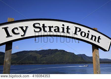 Strait Point, Alaska / Usa - August 13, 2019: Strait Point Sign, Strait Point, Alaska, Usa