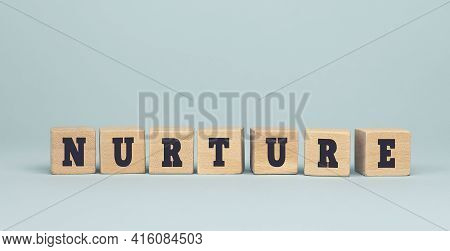 The Word Nurture Made From Wooden Cubes On Blue Background. Conceptual Photo