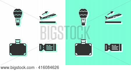 Set Airline Ticket, Hot Air Balloon, Suitcase And Plane Takeoff Icon. Vector
