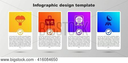 Set Box Flying On Parachute, Suitcase, Attitude Indicator And Radar. Business Infographic Template.