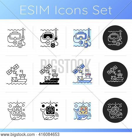 Marine Exploration Icons Set. Underwater Archaeology Tools. Ship Tracking System. Remotely Operated