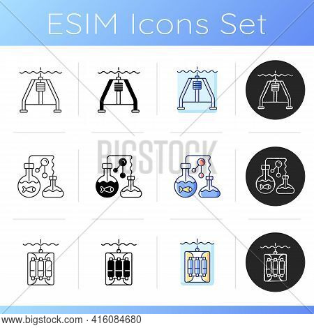 Marine Exploration Icons Set. Marine Chemistry Tools And Equipment. Hydraulically Damped Gravity Cor