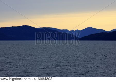Alaska / Usa - August 15, 2019: Alaska Coastline View From A Cruise Ship Deck, Alaska, Usa
