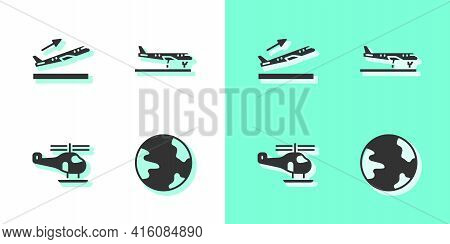 Set Worldwide, Plane Takeoff, Helicopter And Icon. Vector