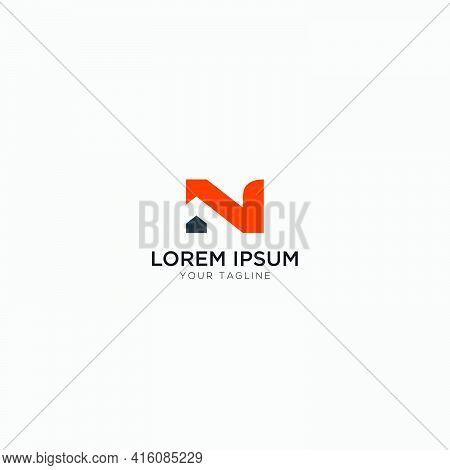 Simple Letter N Home Logo Modern Real Estate