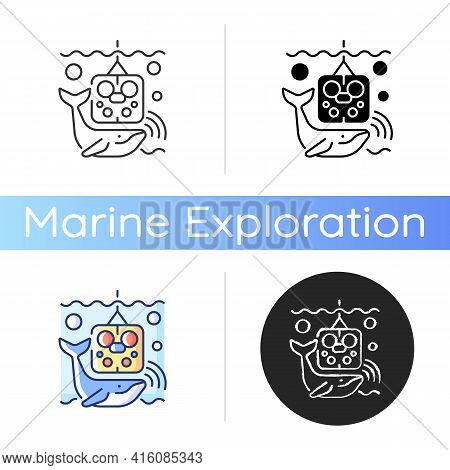 Acoustic Recording Package Icon. Acoustic Surrounding Data Provided From Ocean Bottom Enviroment And