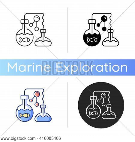 Marine Chemistry Icon. Field Of Chemical Oceanography Studies Chemistry Of Marine Environments Inclu