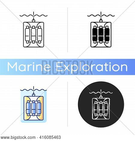 Water Sampler Icon. Water Sampling Devices. Bucket Dropped Over Side Of Boat. Large Water Bottles Se
