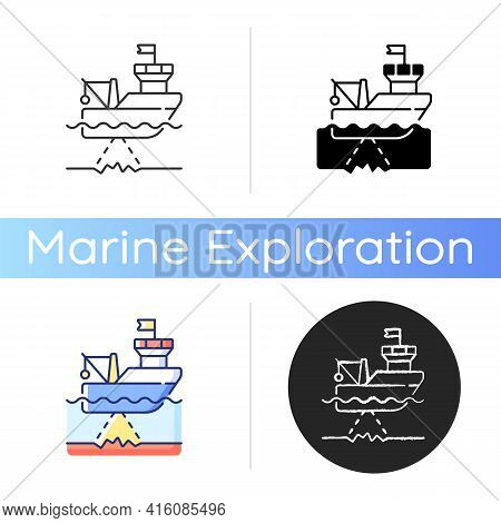 Seafloor Mapping Icon. Pulsing Seafloor With Series Of Soundings. Reflected Echoes Are Received By A