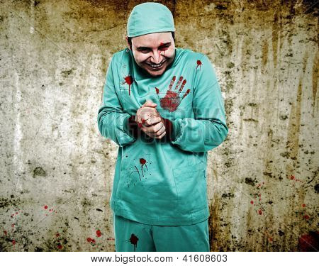 Crazy surgeon waiting for a new patient poster