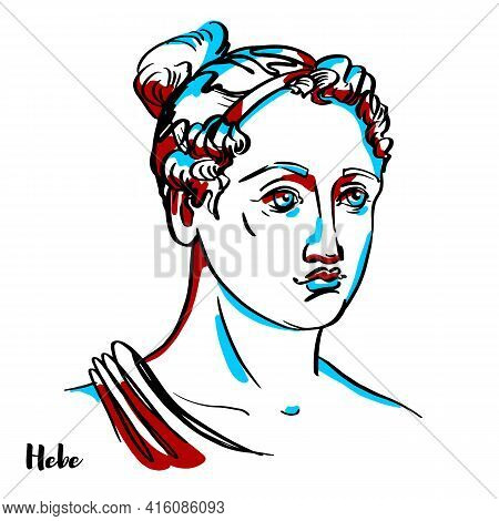 Hebe Engraved Vector Portrait With Ink Contours On White Background. In Ancient Greek Religion, Is T