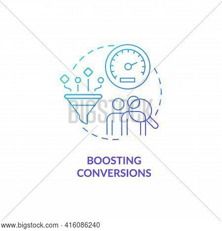 Boosting Conversion Blue Gradient Concept Icon. Improve Sales Rate. Business Optimization. Website T