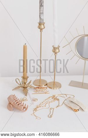 Boho Accessories, Interior Details. Modern Golden Jewellery, Hair Clips On White Table With Vintage