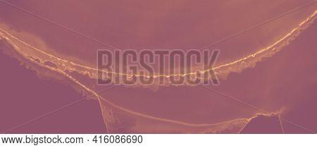 Ink Golden Pattern. Orange Glitter Liquid. Red Art Heat Lava Abstraction. Brown Hell Artistic Fire.
