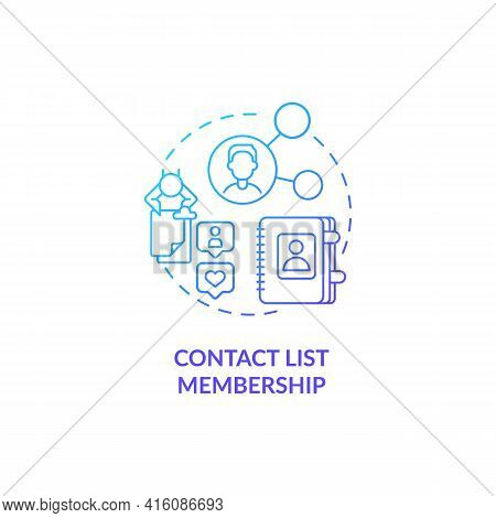 Contact List Membership Blue Gradient Concept Icon. Potential Customer Information For Business. Sma