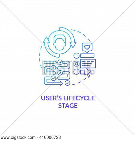User Lifecycle Stage Dark Blue Gradient Concept Icon. Company Marketing Strategy. Consumer Journey.